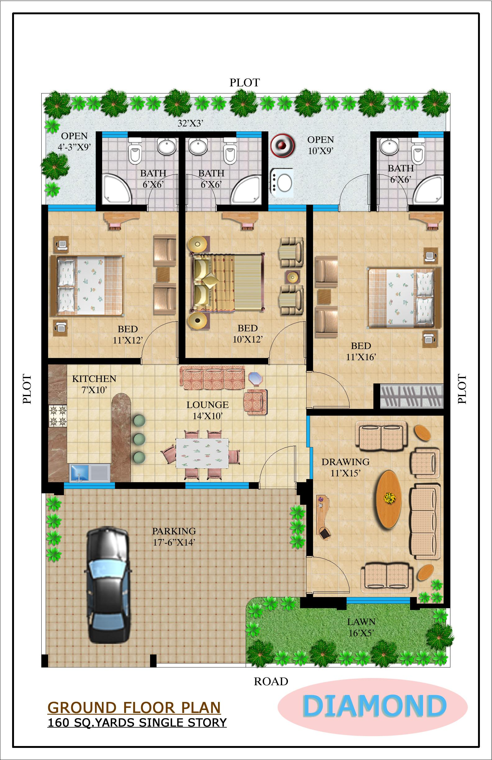 28 200 yard home design floor plans omaxe green for Home designs map