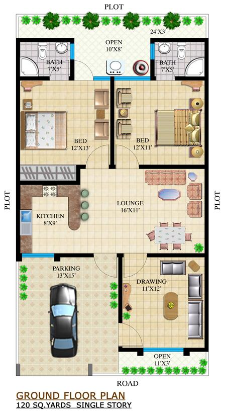 160 Yards House Plan House Design Plans