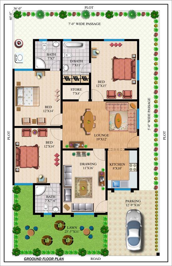 240 yards house plan